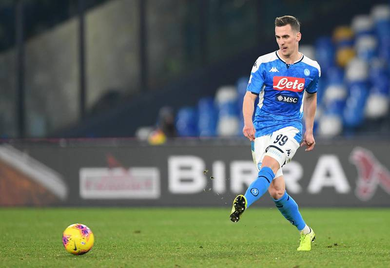 NAPLES, ITALY - JANUARY 18: Arkadiusz Milik of SSC Napoli during the Serie A match between SSC Napoli and  ACF Fiorentina at Stadio San Paolo on January 18, 2020 in Naples, Italy. (Photo by Francesco Pecoraro/Getty Images)