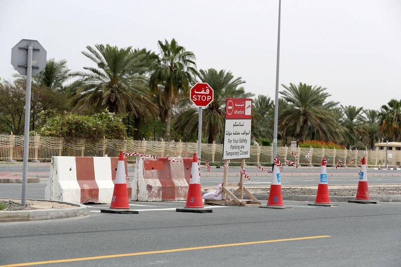 Dubai, United Arab Emirates - Reporter: N/A: A carpark is shut outside Al Barsha Park due to the corona virus. Sunday, April 5th, 2020. Dubai. Chris Whiteoak / The National