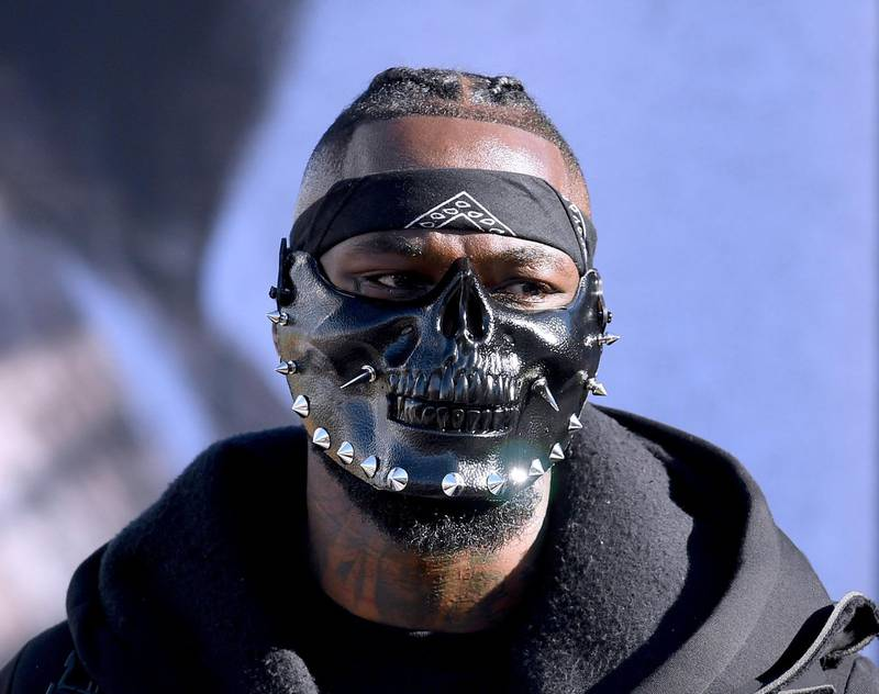 LOS ANGELES, CA - NOVEMBER 30: Deontay Wilder wears a mask during the Deontay Wilder v Tyson Fury weigh-in at Los Angeles Convention Center on November 30, 2018 in Los Angeles, California.   Harry How/Getty Images/AFP