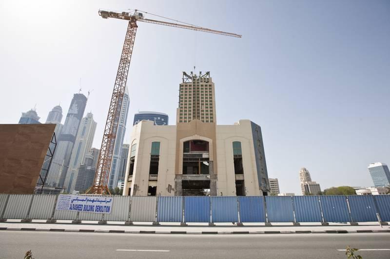 DUBAI, UNITED ARAB EMIRATES,  APRIL 03, 2013. Demolition of the Hard Rock cafe on Sheikh Zayed Road. (ANTONIE ROBERTSON / The National)