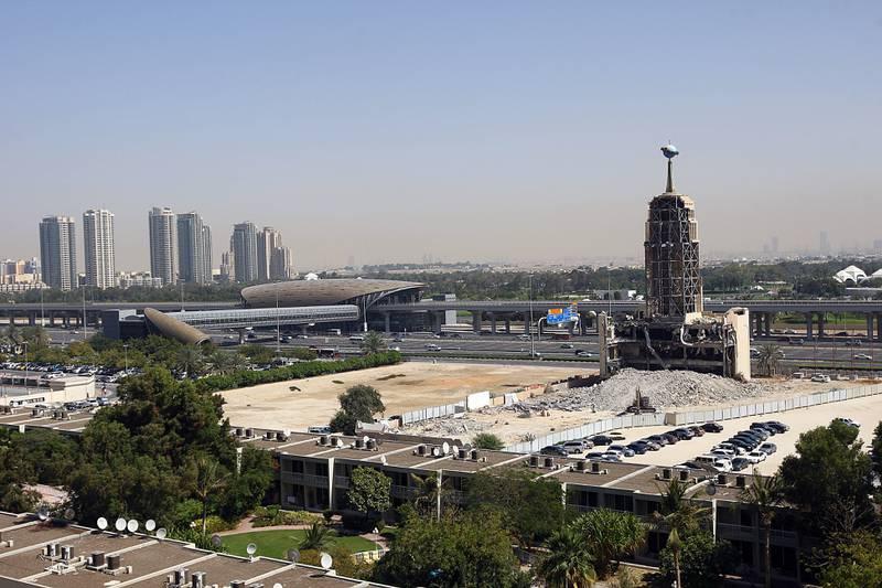 Dubai, United Arab Emirates-March, 05, 2013;  Demolition work has begun to level the expats hotspot  Hard Rock Cafe in Dubai .  (  Satish Kumar / The National ) For News