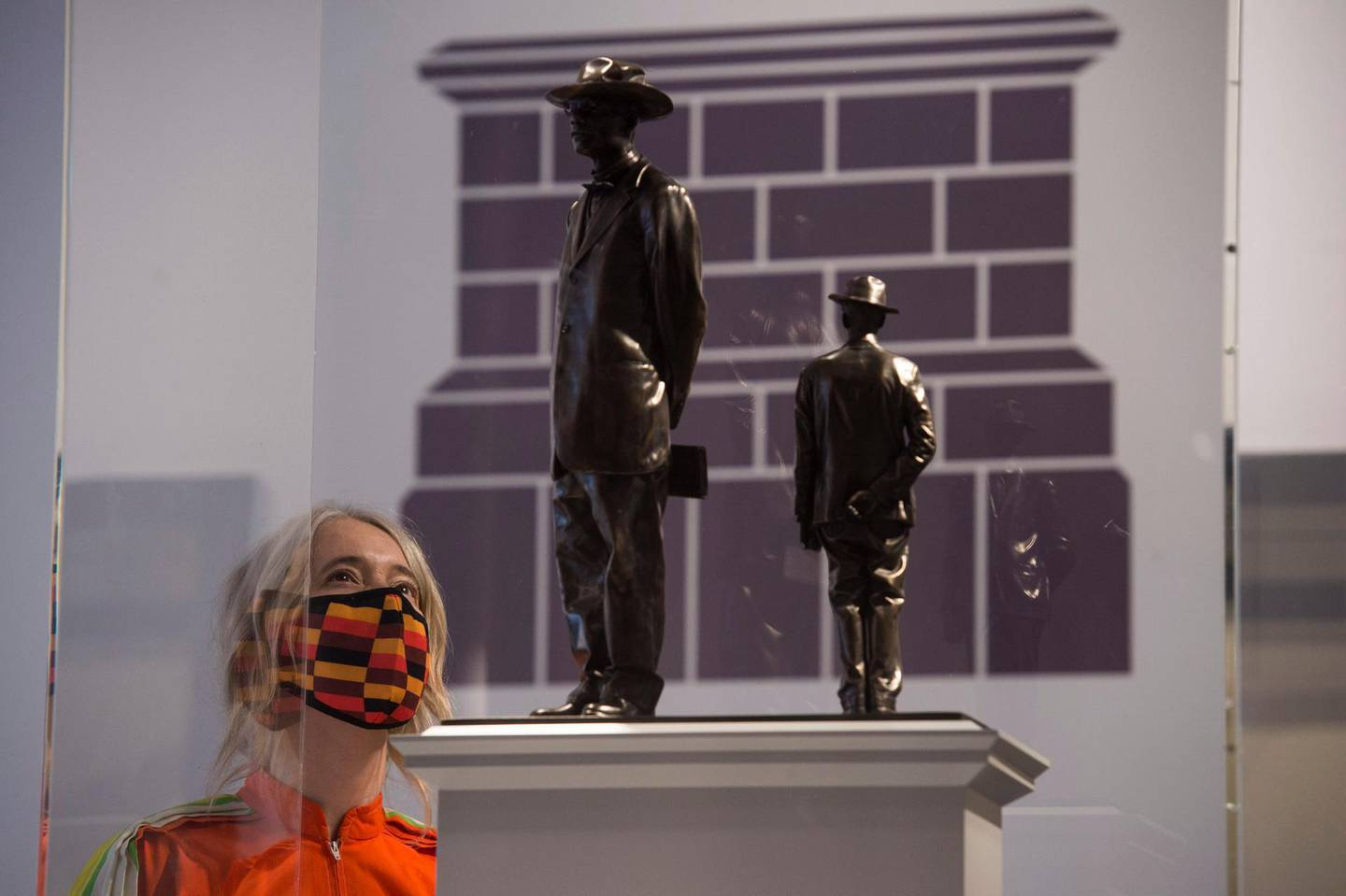 Deputy London Mayor Justine Simons looks at Antelope by Samson Kambalu, on display at the National Gallery, in London, one of the six artworks proposed as the next design for the Fourth Plinth at Trafalgar Square, in London, Monday May 24, 2021. (Kirsty O'Connor/PA via AP)