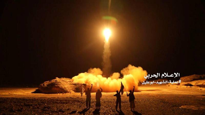 A photo distributed by the Houthi Military Media Unit shows the launch by Houthi forces of a ballistic missile aimed at Saudi Arabia March 25, 2018. Houthi Military Media Unit/Handout via Reuters ATTENTION EDITORS - THIS IMAGE HAS BEEN SUPPLIED BY A THIRD PARTY.