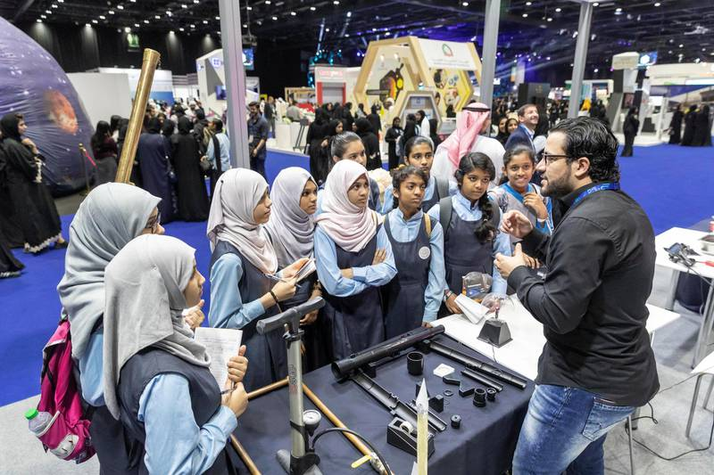 DUBAI, UNITED ARAB EMIRATES. 17 APRIL 2018. STANDALONE from the Think Science fair. Sharjah Center for Astronomy and Space Science. (Photo: Antonie Robertson/The National) Journalist: None. Section: National.