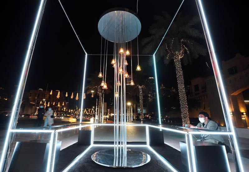 Dubai, United Arab Emirates - Reporter: N/A. News. Art. Al Hai, a series of enthralling light installations adorning Downtown Dubai Boulevard. This piece is called Al Majilis. Dubai. Thursday, January 5th, 2021. Chris Whiteoak / The National