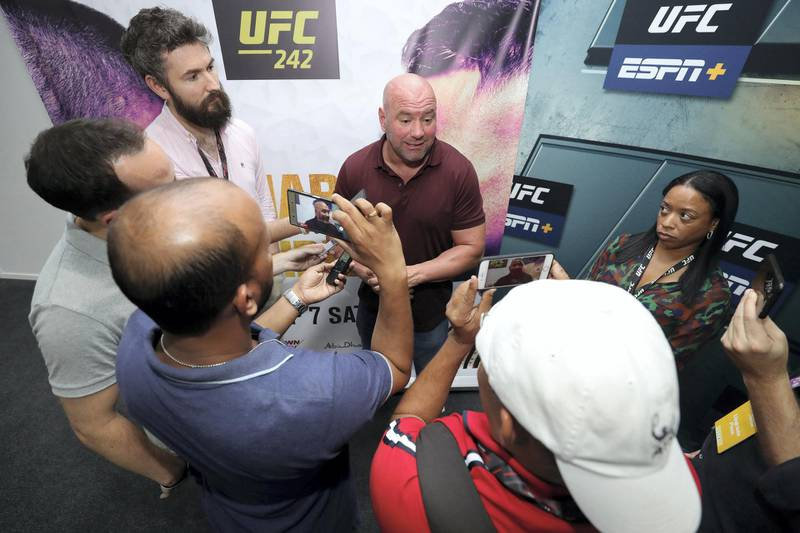 Abu Dhabi, United Arab Emirates - September 06, 2019: UFC president Dana White speaks to local media. Friday the 6th of September 2019. Yes Island, Abu Dhabi. Chris Whiteoak / The National