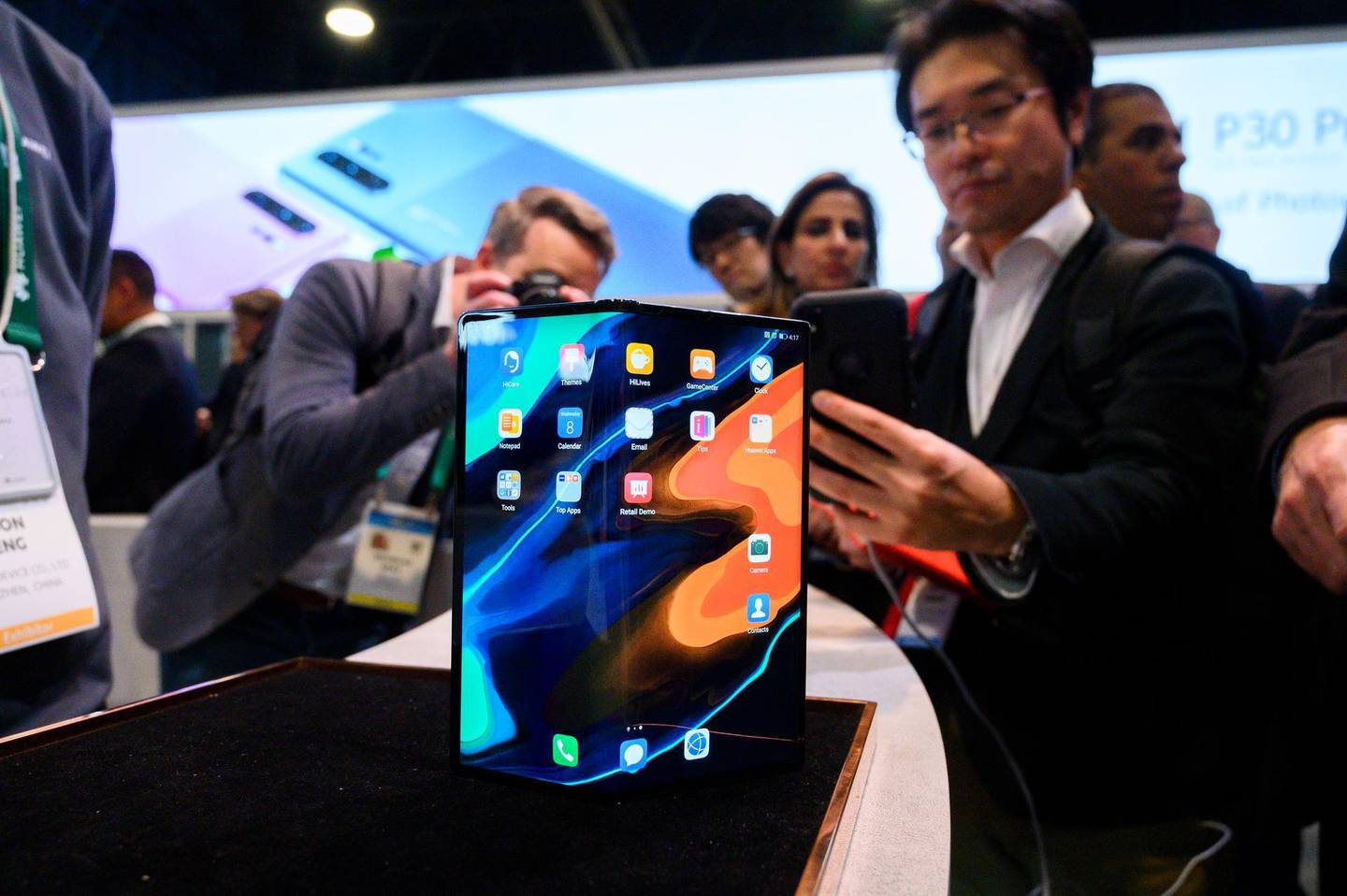 The Huawei Mate X foldable smartphone is displayed January 8, 2020 at the 2020 Consumer Electronics Show (CES) in Las Vegas, Nevada. (Photo by Robyn Beck / AFP)