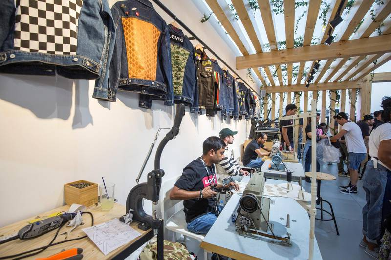 Dubai, United Arab Emirates-  Tailors on standby for last minute designs or altering at the Sole Dubai Festival at D3.  Leslie Pableo for The National for Saeed Saeed's story