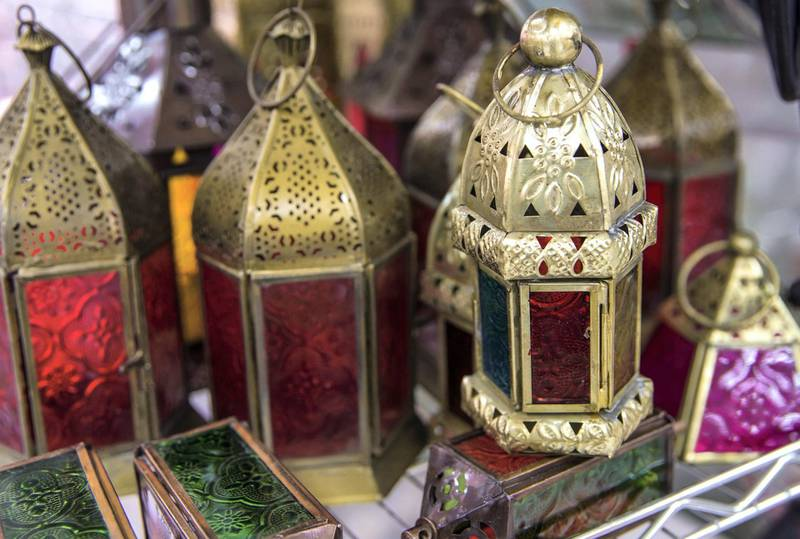 Abu Dhabi, United Arab Emirates, April 22, 2020.    Ramadan lamps for sale at the Dhow Harbor and Al Mina Souk.Victor Besa / The NationalSection:  NAFor:  Stock images