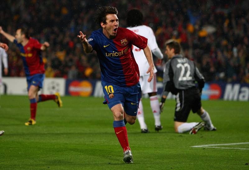 BARCELONA, SPAIN - APRIL 08:  Lionel Messi of Barcelona celebrates his goal during the UEFA Champions League quarter final first leg match between FC Barcelona and FC Bayern Munich at the Camp Nou stadium on April 8, 2009 in Barcelona, Spain.  (Photo by Jamie McDonald/Getty Images)