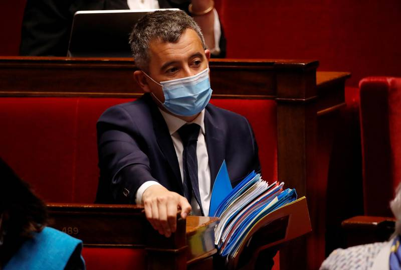 French Interior Minister Gerald Darmanin, wearing a protective face mask, attends the questions to the government session before a final vote on controversial climate change bill at the National Assembly in Paris, France, May 4, 2021. REUTERS/Sarah Meyssonnier