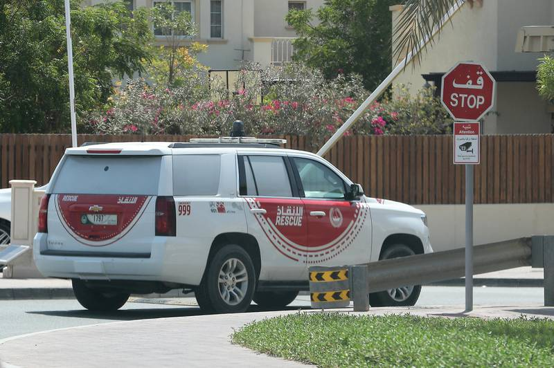 Dubai Police and Rescue teams patrolling and searching in the Springs and Meadows area for an exotic wild animal on the loose in Dubai on May 19,2021. Pawan Singh/The National
