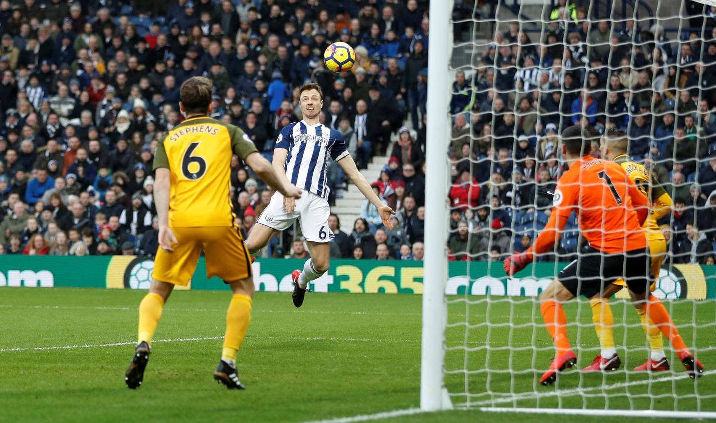 """Soccer Football - Premier League - West Bromwich Albion vs Brighton & Hove Albion - The Hawthorns, West Bromwich, Britain - January 13, 2018   West Bromwich Albion's Jonny Evans scores their first goal    Action Images via Reuters/Carl Recine    EDITORIAL USE ONLY. No use with unauthorized audio, video, data, fixture lists, club/league logos or """"live"""" services. Online in-match use limited to 75 images, no video emulation. No use in betting, games or single club/league/player publications.  Please contact your account representative for further details."""