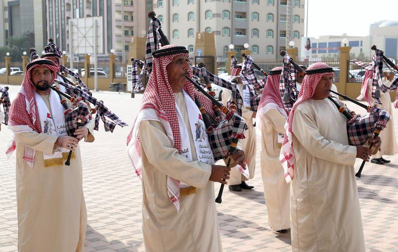 RAK,  UNITED ARAB EMIRATES , OCTOBER 5 – 2019 :- Ras Al Khaimah police band performing during the voting of FNC elections held at the RAK Exhibition Center in Ras Al Khaimah. ( Pawan Singh / The National ) For News. Story by Ruba
