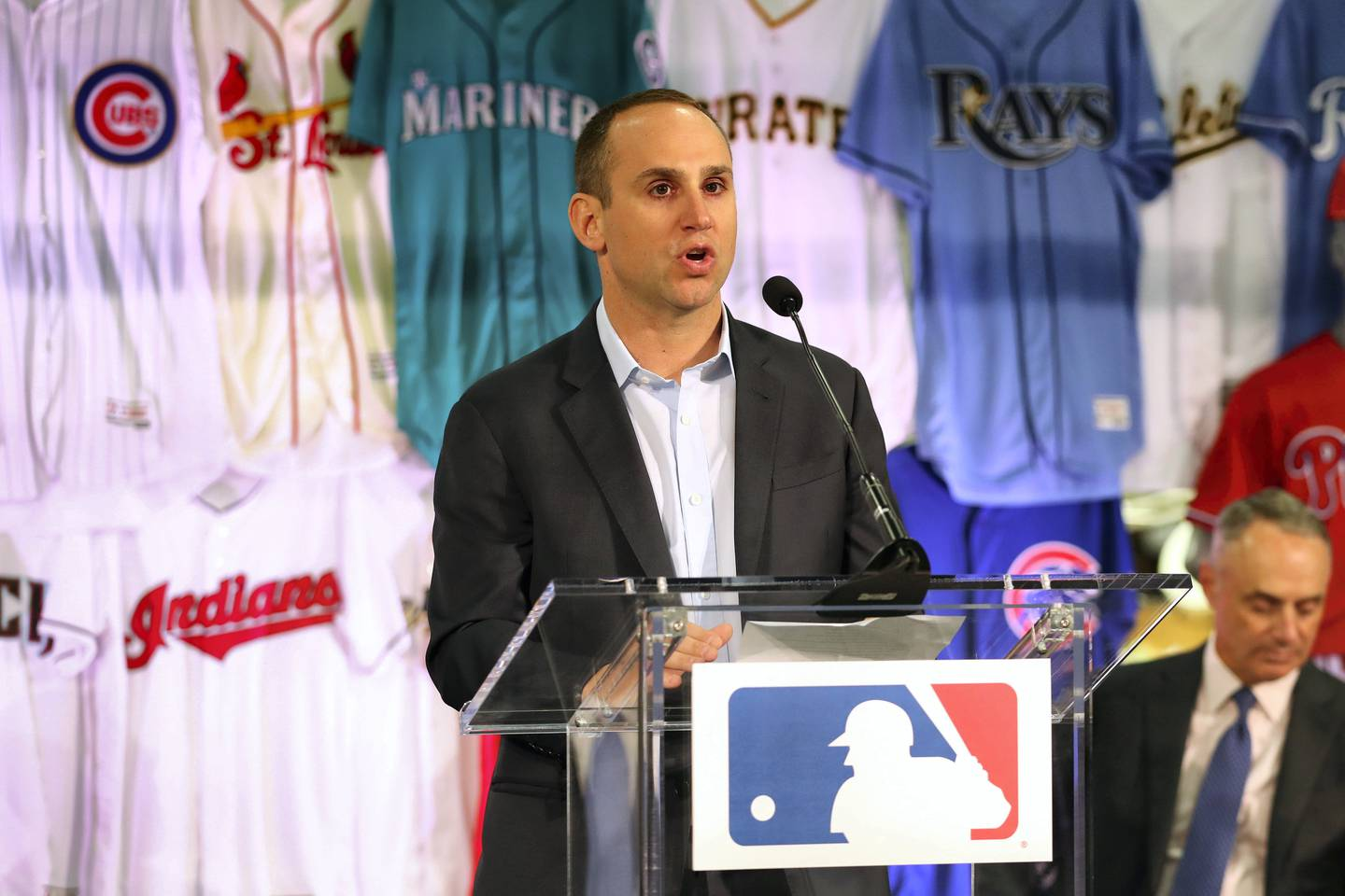 EASTON, PA - APRIL 4: Michael Rubin, Owner and Executive Chairman of Fanatics, speaks during a joint announcement between Fanatics and VF Licensed Sports Group at the Majestic Factory on Tuesday April 4, 2017 in Easton, Pennsylvania. (Photo by Alex Trautwig/MLB Photos via Getty Images)