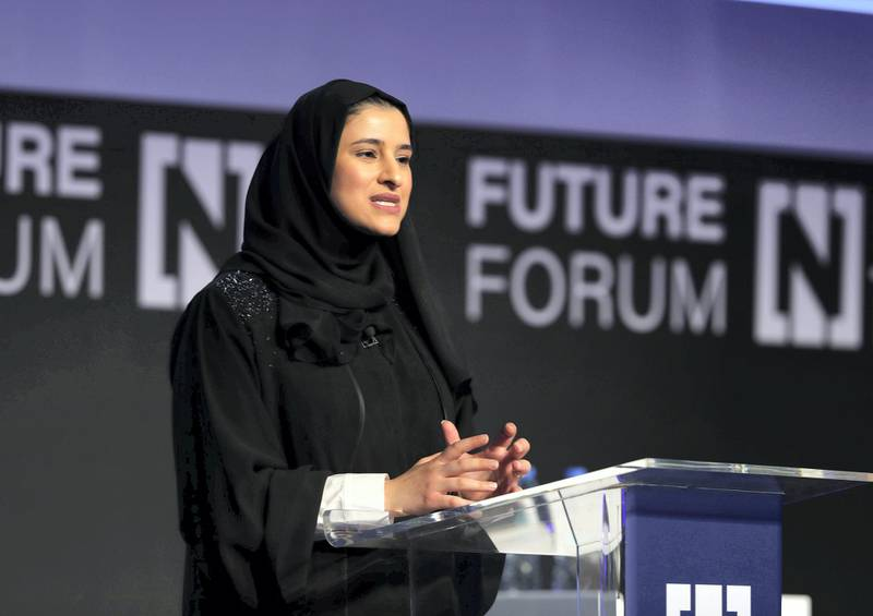 Abu Dhabi, United Arab Emirates - May 8th, 2018: Her Excellency Sarah bint Yousif Al Amiri Minister of State for Advanced Sciences at The National's Future Forum. Tuesday, May 8th, 2018 at Cleveland Clinic, Abu Dhabi. Chris Whiteoak / The National