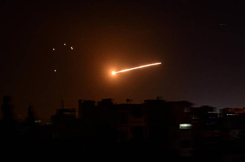 Light in the sky is seen in Damascus, Syria, in this handout released by SANA on February 24, 2020. SANA/Handout via REUTERS ATTENTION EDITORS - THIS IMAGE WAS PROVIDED BY A THIRD PARTY. REUTERS IS UNABLE TO INDEPENDENTLY VERIFY THIS IMAGE.