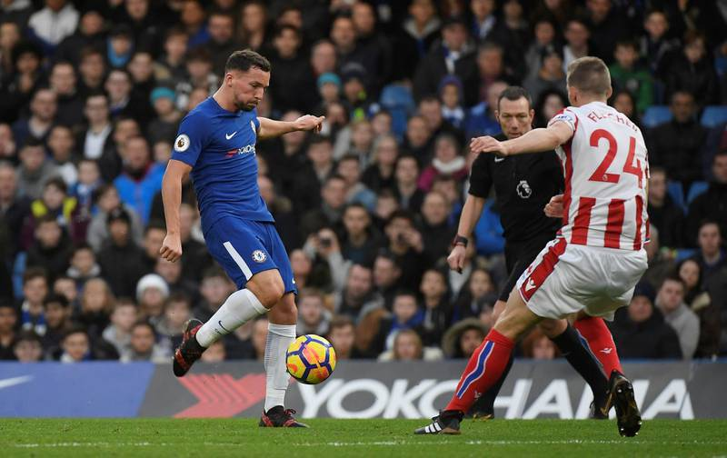 """Soccer Football - Premier League - Chelsea vs Stoke City - Stamford Bridge, London, Britain - December 30, 2017   Chelsea's Danny Drinkwater scores their second goal         REUTERS/Toby Melville    EDITORIAL USE ONLY. No use with unauthorized audio, video, data, fixture lists, club/league logos or """"live"""" services. Online in-match use limited to 75 images, no video emulation. No use in betting, games or single club/league/player publications.  Please contact your account representative for further details."""