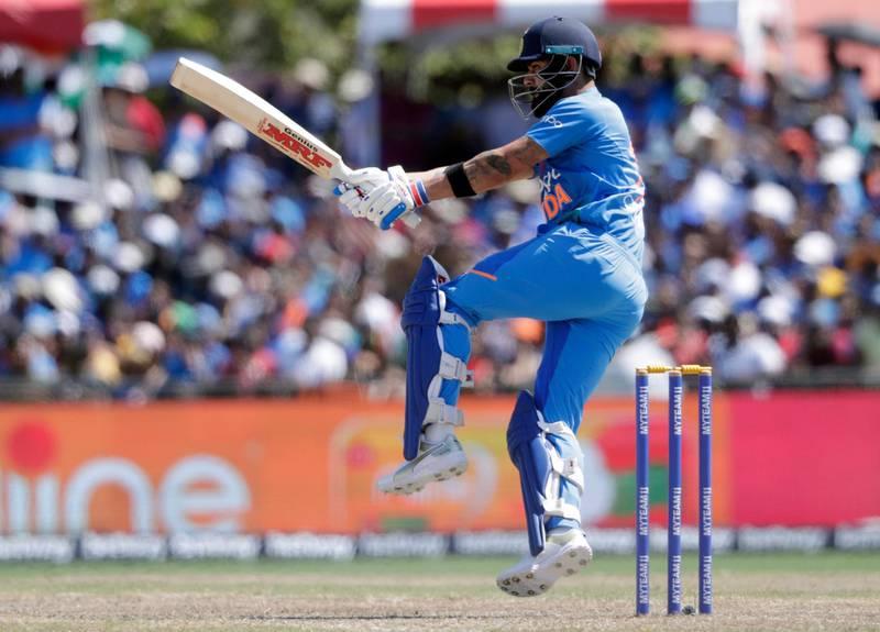 India's Virat Kohli bats during the second Twenty20 international cricket match against the West Indies, Sunday, Aug. 4, 2019, in Lauderhill, Fla. (AP Photo/Lynne Sladky)