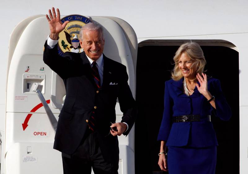 TEL AVIV, ISRAEL - MARCH 8:   U.S. Vice President Joe Biden and his wife Jill Biden wave after arriving at Ben Gurion International airport March 8, 2010  near Tel Aviv, Israel. Biden is on the first leg of a five-day trip to the region.  (Photo by Baz Ratner-Pool/Getty Images)