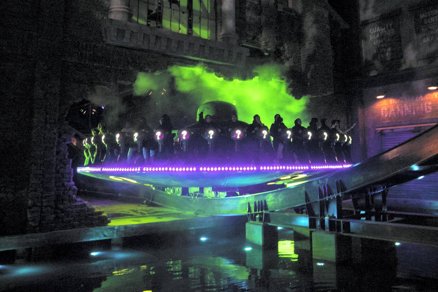 ABU DHABI, UNITED ARAB EMIRATES - JULY 24, 2018. The Riddler Revolution ride at Gotham city in Warner Bros World Abu Dhabi.Almost 15,000 tickets for Warner Bros World Abu Dhabi have been sold ahead of opening to the public on Wednesday.(Photo by Reem Mohammed/The National)Reporter: Section: NA + AL