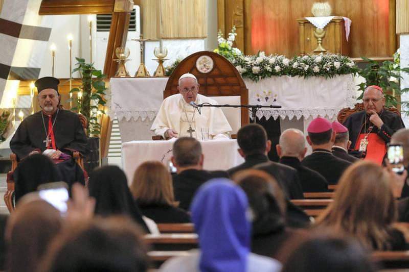 Pope Francis delivers his speech during a meeting with bishops and priests, at the Sayidat al-Nejat (Our Lady of Salvation) Cathedral, in Baghdad, Iraq, Friday, March 5, 2021. Pope Francis has arrived in Iraq to urge the country's dwindling number of Christians to stay put and help rebuild the country after years of war and persecution, brushing aside the coronavirus pandemic and security concerns. (AP Photo/Andrew Medichini)