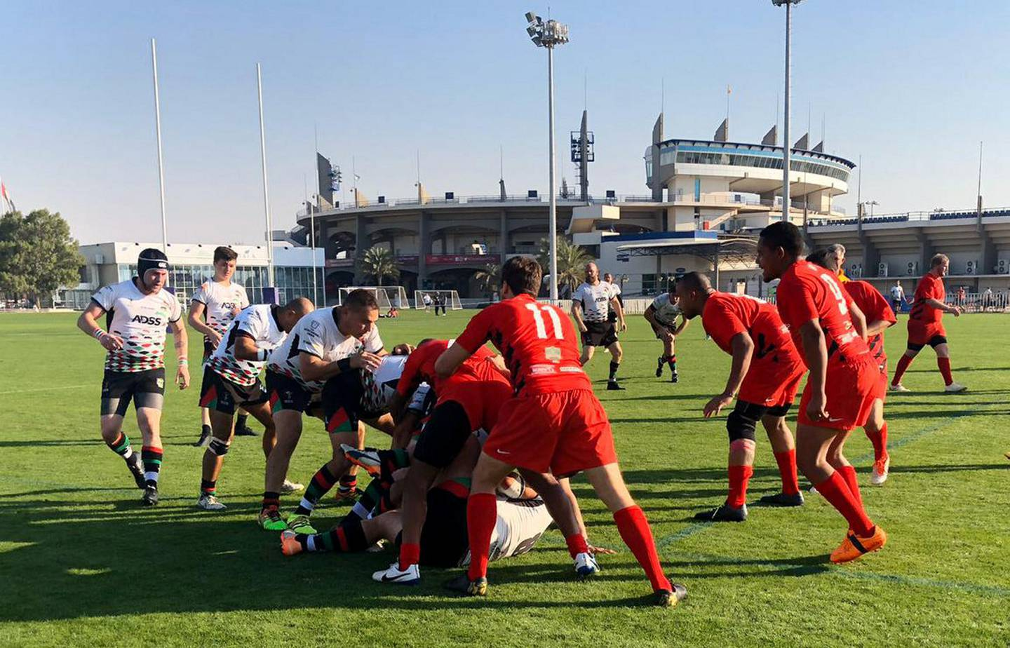 Abu Dhabi Saracens won all nine of their matches with a bonus point as they won UAE Division One - but they will opt against promotion to the Premiership. Courtesy Abu Dhabi Saracens