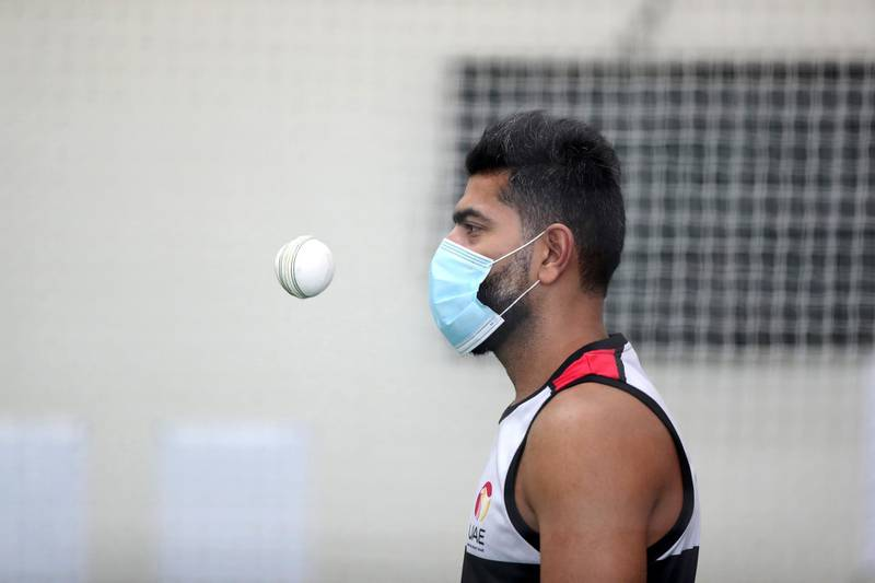 Dubai, United Arab Emirates - Reporter: Paul Radley. Sport.  Captain Ahmed Raza bowls. The UAE cricket team are back at training at the ICC academy after the government have eased restrictions due to Coivd-19/Coronavirus. Sunday, June 7th, 2020. Dubai. Chris Whiteoak / The National