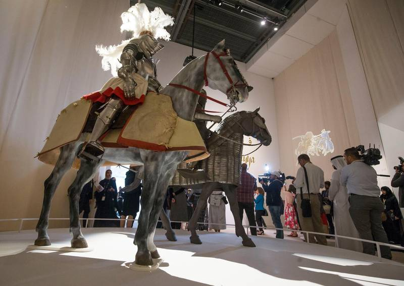 Abu Dhabi, United Arab Emirates- Composite rider and horse armour at Furusiyya The Art of Chivalry between East and West, which draws links between knightly traditions of Europe and the Middle East at Louvre Abu Dhabi.  Leslie Pableo for The National