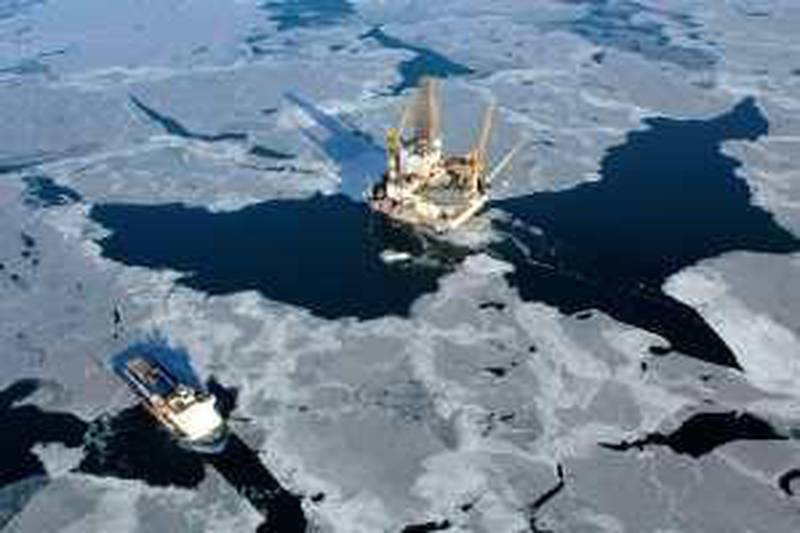 A company handout photograph shows the oil production platform at the Sakhalin-I field in Russia, partly owned by ONGC Videsh Ltd., Rosneft Oil Co., Exxon Mobil Corp. and Japan's Sakhalin Oil and Gas Development Co., made available to the media on Tuesday, June 9, 2009. Oil & Natural Gas Corp., India's biggest energy explorer, said its overseas crude output will fall this year as fields age, and an increase is likely after new areas in Brazil and Myanmar start production by 2012. Source: ONGC Videsh Ltd. via Bloomberg News EDITOR'S NOTE: NO SALES. EDITORIAL USE ONLY.