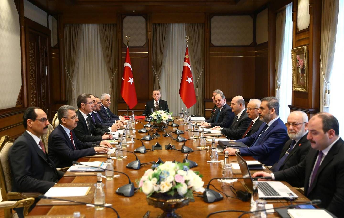 Turkish President Tayyip Erdogan chairs a security meeting in Ankara, Turkey January 23, 2018. Kayhan Ozer/Presidential Palace/Handout via REUTERS ATTENTION EDITORS - THIS PICTURE WAS PROVIDED BY A THIRD PARTY. NO RESALES. NO ARCHIVE.