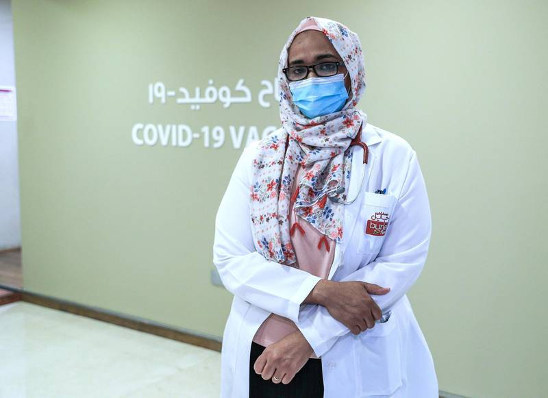 Abu Dhabi, United Arab Emirates, December 13, 2020.   Doctors and UAE residents get Covid-19 vaccinated at the Burjeel Hospital, Al Najdah Street, Abu Dhabi.   Dr. Haifaa Fadl Nourin of the Covid-19 vaccination clinic.Victor Besa/The NationalSection:  NA