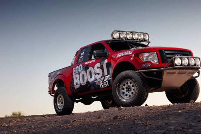 A 2011 Ford F-150 EcoBoost(TM) will take on the demanding Tecate SCORE Baja 1000 long-distance desert endurance race this year, marking Ford's EcoBoost engine racing debut. The F-150 off-road race truck is equipped with the same stock EcoBoost engine that already has experienced 150,000 equivalent miles of dynamometer testing and other real-world tests as the final step in the engine's durability torture tests. (09/23/2010)