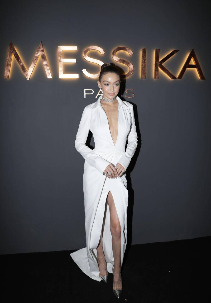 PARIS, FRANCE - SEPTEMBER 27: In this handout provided by Messika, Gigi Hadid attends the Messika cocktail as part of the Paris Fashion Week Womenswear  Spring/Summer 2018 on September 27, 2017 in Paris, France. (Photo by Messika via Getty Images)
