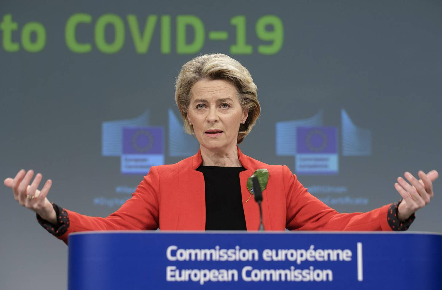 Ursula von der Leyen, European Commission president, gestures as she speaks during a news conference in Brussels, Belgium, on Wednesday, March 17, 2021. The European Union will propose a certificate that could ease travel for those who have taken EU-approved vaccines as well as others, like the Chinese and Russian shots, that have only received emergency national authorizations. Photographer: Thierry Monasse/Bloomberg