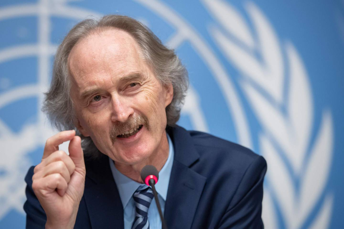UN Special Envoy for Syria, Geir Pedersen, gestures during a news conference on meeting of the Syria constitutional committee on October 28, 2019 at the United Nations Offices in Geneva.  / AFP / Fabrice COFFRINI