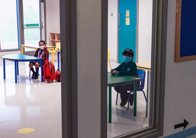 Abu Dhabi, United Arab Emirates, February 14, 2021. Pupils return to Abu Dhabi's private schools. GEMS United Indian School – Abu Dhabi.   Socially distanced seating.Victor Besa/The NationalSection: NAReporter:  Anam Rizvi