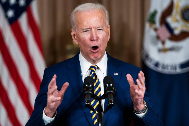 epa08987646 US President Joe Biden makes a foreign policy speech at the State Department in Washington, DC, USA, 04 February 2021. Biden announced that he is ending US support for the Saudi's offensive operations in Yemen.  EPA/JIM LO SCALZO