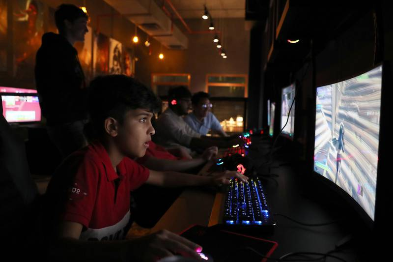 DUBAI, UNITED ARAB EMIRATES , Feb 8  – 2020 :- Young people playing games at the ALT gaming lounge in Dubai Investment Parks in Dubai. (Pawan  Singh / The National) For Feature. Story by Ashleigh Stewart