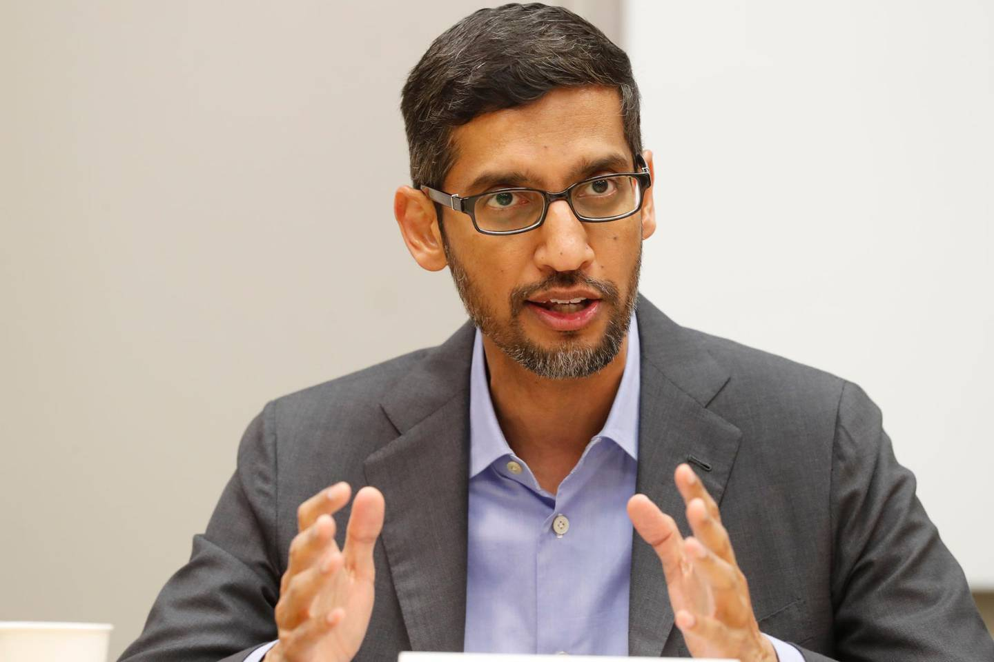 """FILE- In this Oct. 3, 2019 file photo, Google CEO Sundar Pichai speaks during a visit to El Centro College in Dallas. Pichai has apologized for how a prominent artificial intelligence researcher's abrupt departure last week has """"seeded doubts"""" in the company. Pichai told Google employees in a memo Wednesday, Dec. 9, 2020 obtained by Axios that the tech company is beginning a review of the circumstances leading up to Black computer scientist Timnit Gebru's exit and how Google could have """"led a more respectful process."""" (AP Photo/LM Otero, File)"""