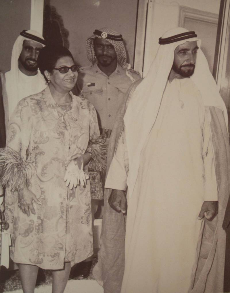 DUBAI.29th April 2008.Umm Kulthum  antique Indian pearl necklace at the Christie's Dubai Sale held at the Emirates Towers hotel. .Stephen Lock  /  The National. COPY PIC: Umm Kulthum with Sheikh Zayed (who gave her the necklace) taken in the early 1970's *** Local Caption *** SL-necklace-006.jpg