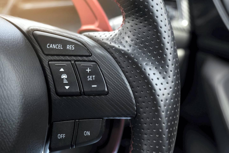 Steering wheel. Multi function buttons on steering wheel in car