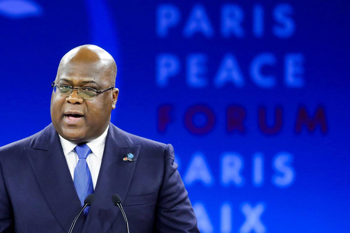 President of Democratic Republic of Congo (DRC) Felix Tshisekedi delivers a speech at the start of the Paris Peace Forum, France November 12, 2019. Ludovic Marin/Pool via REUTERS