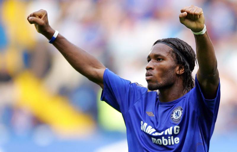 Chelsea's Didier Drogba celebrates scoring against Sunderland during their Premiership game at Stamford Bridge in London, 10 September, 2005. Chelsea won the game 2-0.      AFP PHOTO / JOHN D MCHUGH Mobile and website use of domestic English football pictures subject to subscription of a license with Football Association Premier League (FAPL) tel : +44 207 298 1656. For newspapers where the football content of the printed and electronic versions are identical, no licence is necessary. / AFP PHOTO / JOHN D MCHUGH