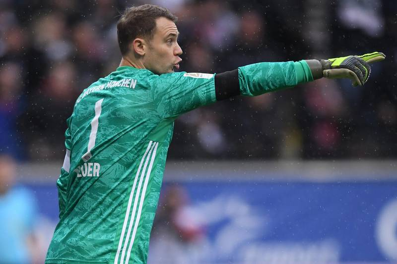 FRANKFURT AM MAIN, GERMANY - NOVEMBER 02: Goalkeeper Manuel Neuer of Muenchen reacts during the Bundesliga match between Eintracht Frankfurt and FC Bayern Muenchen at Commerzbank-Arena on November 02, 2019 in Frankfurt am Main, Germany. (Photo by Alex Grimm/Bongarts/Getty Images)