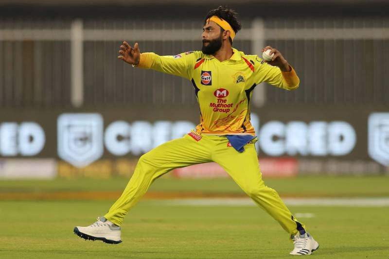Ravindra Jadeja of Chennai Superkings in action during match 4 of season 13 of the Dream 11 Indian Premier League (IPL) between Rajasthan Royals and Chennai Super Kings held at the Sharjah Cricket Stadium, Sharjah in the United Arab Emirates on the 22nd September 2020. Photo by: Deepak Malik  / Sportzpics for BCCI
