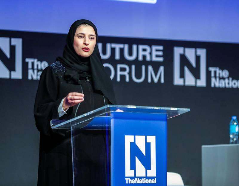 Abu Dhabi, UAE.  May 8, 2018.  The National Future Forum.  H.E. Sarah Al Amiri, UAE Minister of State for Advanced Sciences.Victor Besa / The National