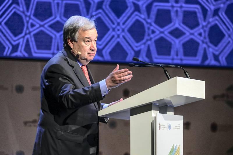 Abu Dhabi, United Arab Emirates, June 30, 2019.   Abu Dhabi Climate Meeting at the Emirates Palace.--António Guterres, Secretary General of the United Nations.Section:  NAReporter:  John Dennehy
