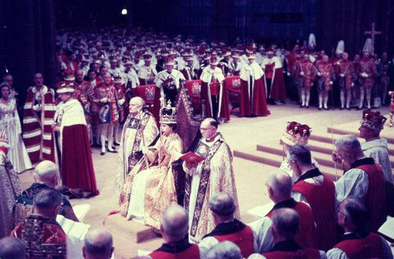 2nd June 1953:  Queen Elizabeth II at her coronation ceremony in Westminster Abbey, London.  (Photo by Hulton Archive/Getty Images)