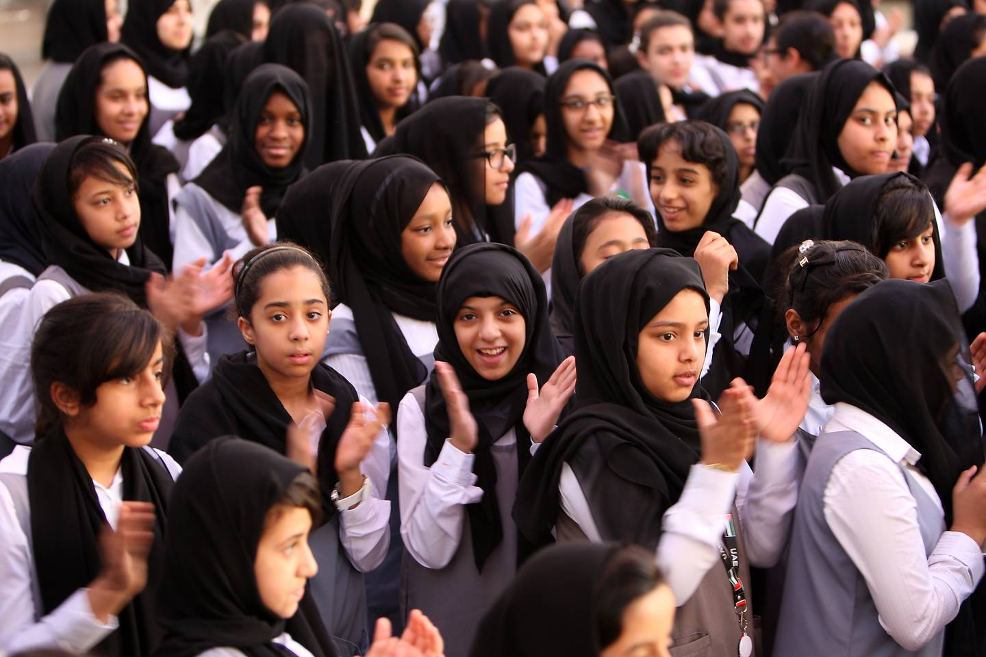 ABU DHABI , UNITED ARAB EMIRATES  Ð  Nov 20 : Students of Al Marwa girls school celebrating the National Day during the assembly at the school campus in Abu Dhabi. ( Pawan Singh / The National ) For Focus. Story by Bushra